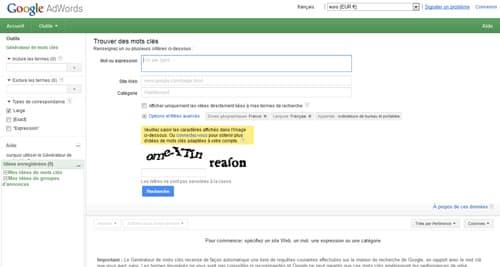 Google Adwords : Générateur de mots clés
