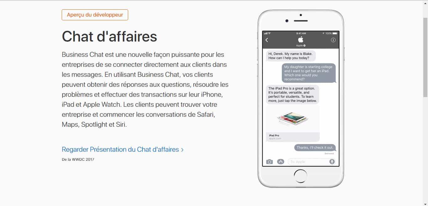 Apple lance Business Chat pour converser avec les entreprises