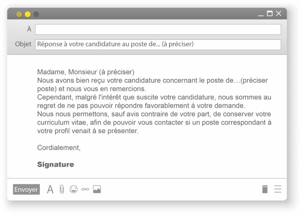e-mail type de refus de candidature