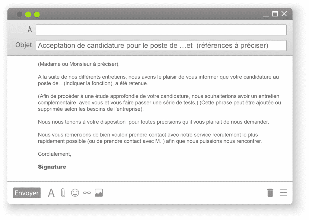 email acceptation condidature